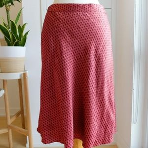 Banana Republic Soft Silk Skirt Red Dots